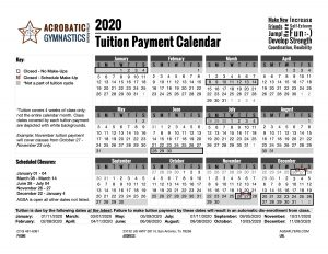 2020 Tuition Calendar